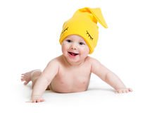 Funny baby boy weared cap stock images