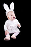 Funny baby in bunny costume Royalty Free Stock Images