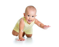 Funny baby crawling Stock Photos