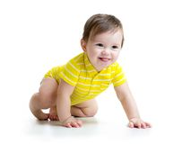 Funny baby crawling Royalty Free Stock Image