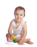 Funny baby with cubes royalty free stock photography