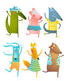 Funny Baby Dancing Animals Collection Stock Image