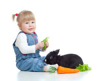 Funny baby feeding rabbit a carrot and lettuce Royalty Free Stock Images