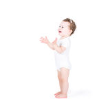 Funny baby girl clapping hands Royalty Free Stock Photography