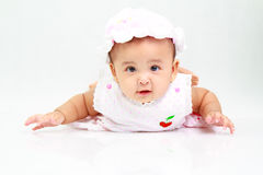 Funny baby girl. Cute baby girl looks so happy Stock Photo