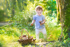 Funny baby girl gathering mushrooms in an autumn park Royalty Free Stock Photos