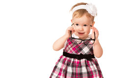 Funny baby girl in glasses isolated on white Royalty Free Stock Image