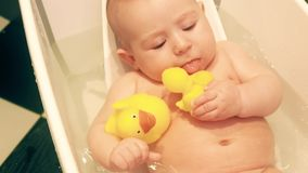 Funny baby girl holds rubber ducks in a bath tub. Funny baby girl holds rubber ducks stock photography