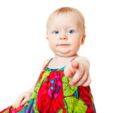 Funny baby girl pointing finger Royalty Free Stock Photo