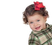 Funny baby girl with red loop Stock Photography