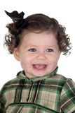 Funny baby girl with red loop Royalty Free Stock Photos