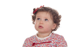 Funny baby girl with red loop Royalty Free Stock Photo