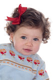 Funny baby girl with red loop Stock Photos