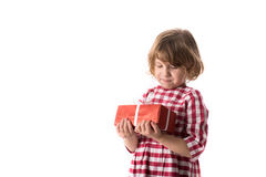 Funny baby girl in red plaid dress with  gift, concept of Valent Royalty Free Stock Photography