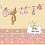 Funny Baby Girl Shower Card Royalty Free Stock Photo