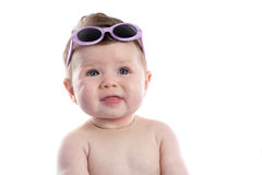 Funny baby girl with sunglasses Royalty Free Stock Photography