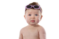 Funny baby girl with sunglasses Royalty Free Stock Photo