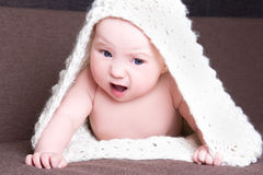 Funny baby girl in white woolen scarf crawling Royalty Free Stock Image