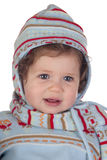 Funny baby girl with winter clothing Stock Images