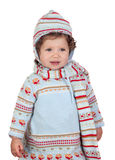 Funny baby girl with winter clothing Royalty Free Stock Photography
