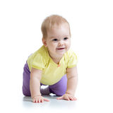 Funny baby goes down on all fours. Funny cute baby girl goes down on all fours Stock Photo