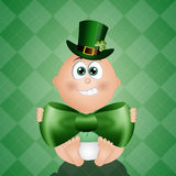 Funny baby with green hat for St. Patrick Royalty Free Stock Photos