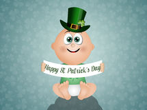 Funny baby with green hat for St. Patrick Royalty Free Stock Images