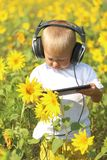 Funny baby in headphones and tablet. In sunflower Royalty Free Stock Image