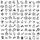 Funny baby icons. vector doodle collection of hand drawn icons f stock illustration