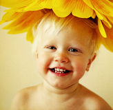 Funny baby laughs. Stock Images