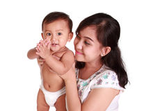 Funny baby and mom isolated Royalty Free Stock Photography