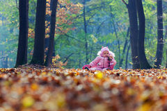 Funny baby playing with leaves. In park - outdoor Stock Photo