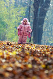 Funny baby playing with leaves Stock Image