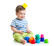 Funny baby playing with toys Royalty Free Stock Photography