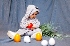 Funny baby in rabbit costume royalty free stock image