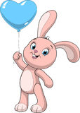 Funny baby rabbit. Vector illustration of a cute funny bunny holds air balloon Royalty Free Stock Image