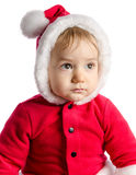 Funny baby in Santa Claus clothes stock images