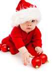 Funny baby in Santa hat Stock Photo