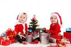 Funny baby santas Royalty Free Stock Image