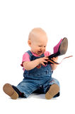 Funny baby with shoe stock images