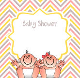 A funny baby shower cover. That you can use to invite your frends to introduce your tweens at your friends and relatives Royalty Free Stock Photography