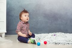 Funny baby toddler boy at home Royalty Free Stock Photo
