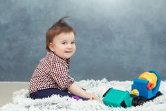 Funny baby toddler boy at home royalty free stock photography
