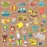 Funny baby toys stickers set. Royalty Free Stock Photos