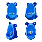 Funny baby urinal for boys. Housebreaking. To pee standing up. Set of four foreshortenings. Funny baby urinal for boys. Housebreaking. To pee standing up. Object Royalty Free Stock Photography
