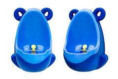 Funny baby urinal for boys. Housebreaking. To pee standing up. Set of two foreshortenings. Funny baby urinal for boys. Housebreaking. To pee standing up. Object Royalty Free Stock Images