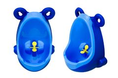 Funny baby urinal for boys. Housebreaking. To pee standing up. Set of two foreshortenings. Funny baby urinal for boys. Housebreaking. To pee standing up. Object Royalty Free Stock Image