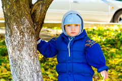 Funny baby on the walk Royalty Free Stock Photo
