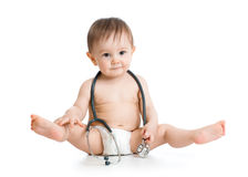 Funny baby weared diaper with stethoscope stock photography