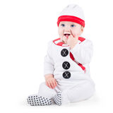 Funny baby wearing Christmas snow man costume. Funny laughing baby wearing a Christmas snow man costume on white background Stock Photography